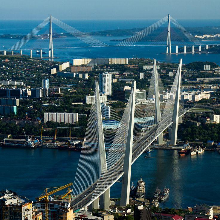 Golden and Russky bridges, filming location in Vladivostok, Primorye Film Commission