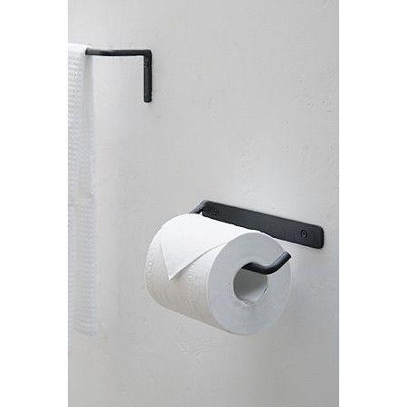 シンプルなデザインで、アイアンの素材感を活かした「プレーンアイアン」シリーズ。こちらはトイレットペーパーホルダーの【シングルタイプ】。                                                                   ( Towelbar +Msize +black )