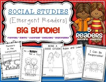 This is a BIG BUNDLE SET of 5 of my Social Studies Emergent Readers! These readers help facilitate talks of citizenship, bullying, manners, responsibility, rules/laws. The readers are perfect for Kindergarten and First Grade. This bundle includes blackline versions only. $