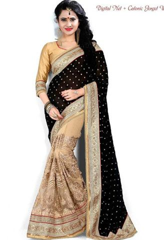 Beige Georgette-Net Saree..@ fashionsbyindia.com #designs #indian #fashion #womens #style #cloths #clothes #stylish #casual #fashionsbyindia #punjabi #suits #wedding #saree #chic #elegance #beauty #outfits #fantasy #embroidered #dress #PakistaniFashion #Fashion #Longsuit #FloralEmbroidery #Fashionista #Fashion2015 #IndianWear #WeddingWear #Bridesmaid #BridalWear #PartyWear #Occasion #OnlineShopping