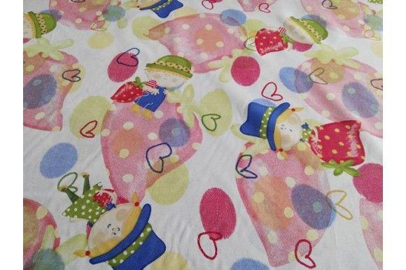 Loneta estampada de fresas y muñecos, empleada para diversas labores como cortinas, estores, tapizado de sofás, fundas para cojines..., tela con cuerpo, gruesa y resistente. Fácil lavado y planchado.#loneta #estampado #fresas #muñecos #labores #tapizado #estores #sofás #cojines #confección #manteles #disfraces #medieval #carnaval #resistente #tela #telas #tejido #tejidos #textil #telasseñora #telasniños #comprar #online #comprartelas #compraronline