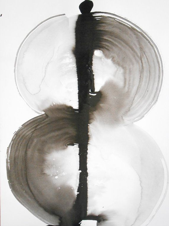 OOAK Philosophy A3 Black and White Ink Wash Painting by Manjuzaka