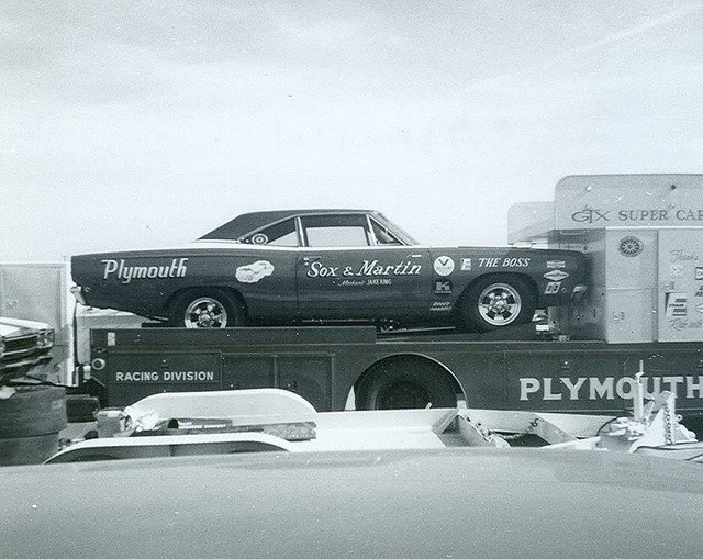 Sox & Martin Plymouth Roadrunner Pro Stock car on the hauler