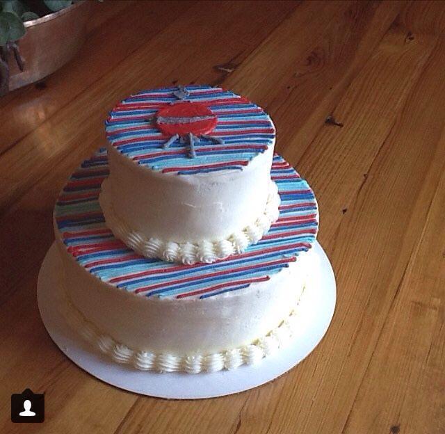 Striped bbq cake, mans birthday party