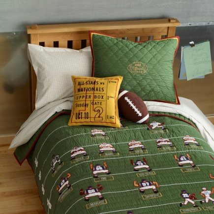 Love this football bedding from the land of nod a great for Boys football themed bedroom ideas