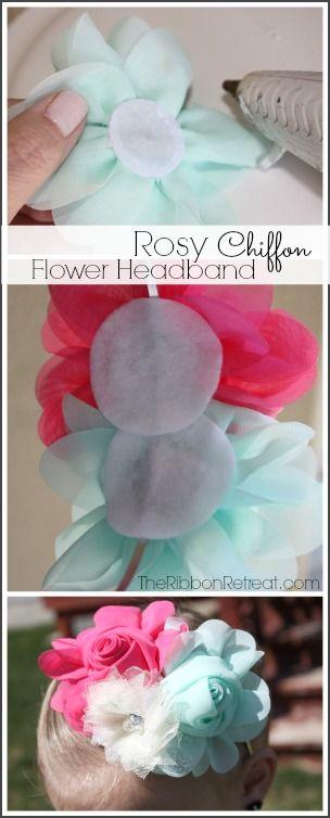 Rosy Chiffon Flower Headband - The Ribbon Retreat Blog
