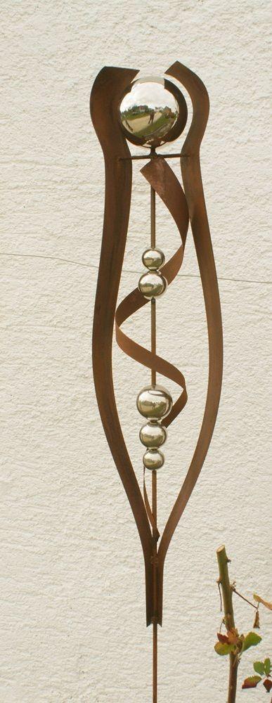 Gartendeko Rost Stab Mit Edelstahlkugeln Skulptur Dekostab