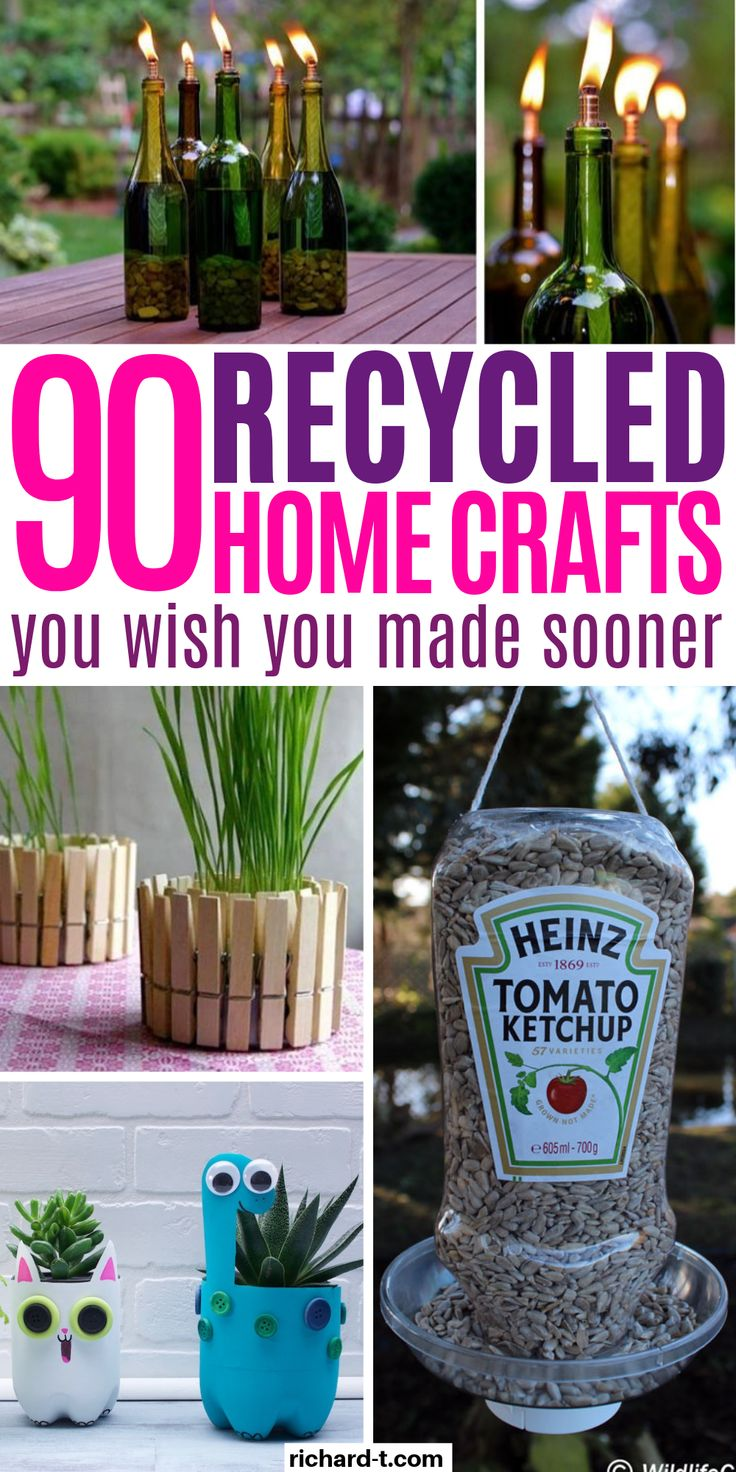 These 90+ recycled crafts make the perfect home decor! Save yourself a TON of money by recycling goods around the house into amazing homemade crafts! #crafts #diy #recycled #recycledcrafts #homedecor