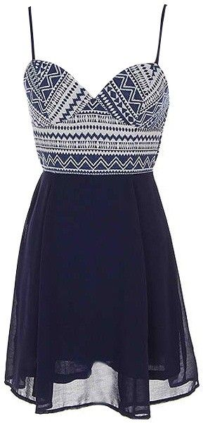 Navy Aztec Print Summer Dress ~<3