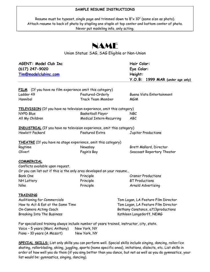 child actor resume format acting resume template for microsoft