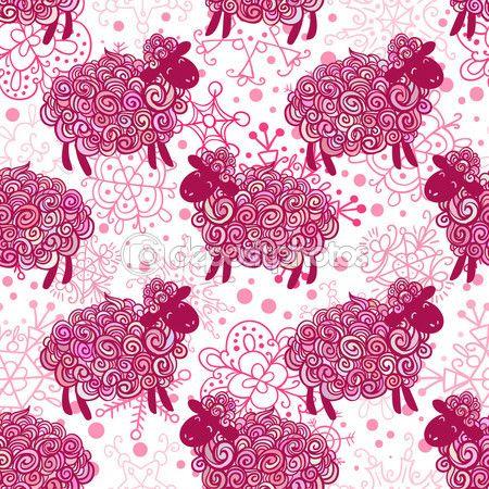 Padrão de ovelhas de ano novo — Ilustração de Stock #55311073