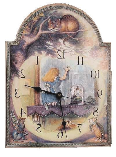 Alice in Wonderland Through the Looking Glass Clock, Runs Backwards  http://www.etsy.com/listing/153948281/alice-in-wonderland-through-the-looking?