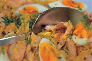 Asian-Spiced Kedgeree from Nigella.  I leave out the eggs.  Delicious and pretty healthy, too.