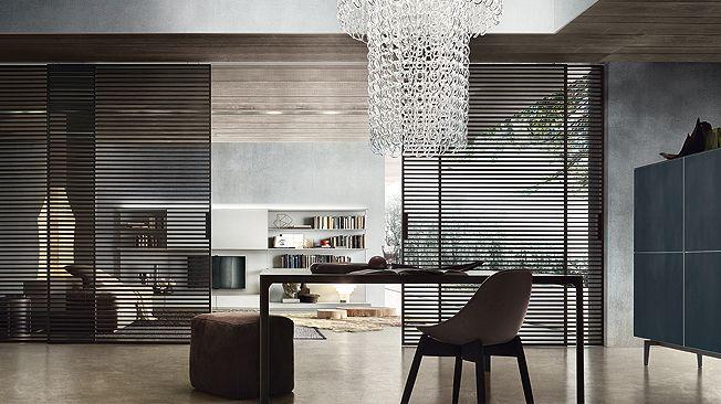 Cистема Stripe, Rimadesio. Конструкция из алюминиевых реек создает модный графичный рисунок. Дизайн Giuseppe Bavuso