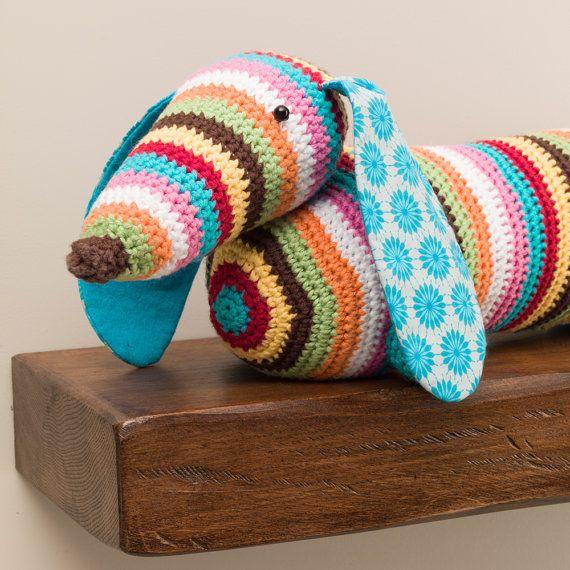 Stripy dachshund sausage dog crochet doorstop by RupertsHouse