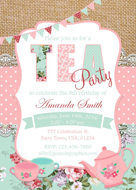 ******* SUMMER SALE 30% OFF *******  Tea Party Invitation, Birthday Tea Party, Shabby Chic Invitation, Girl Birthday, Tea Party Invite, Shabby Chic Birthday, Girls Tea Party.  Size 5x7 or 4x6 300 dpi High Resolution digital file (JPEG).  Digital files can easily be printed at home or at any print shop or emailed to your guest.  Note, that no physical item will be sent.  WHY PRINTABLE FILES & WHY GrayCatGraphics?  ✔ You can SAVE A LOT OF MONEY by printing your invitations yourself. ✔ You can…