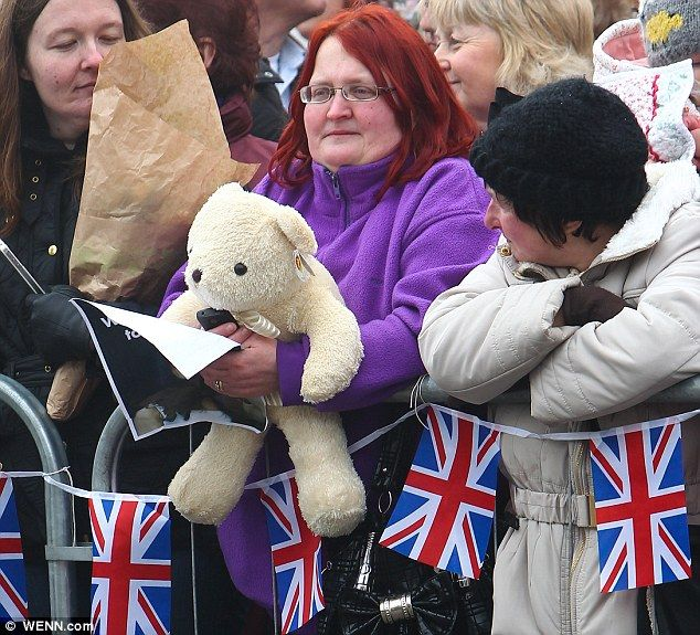 A teddy for Kate: Diana Burton, 41, pictured waiting patiently with the crowd for the arrival of the Duchess