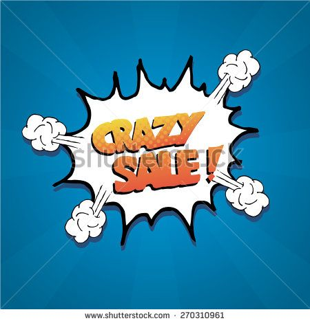 pop art  crazy sale explosive over blue color background