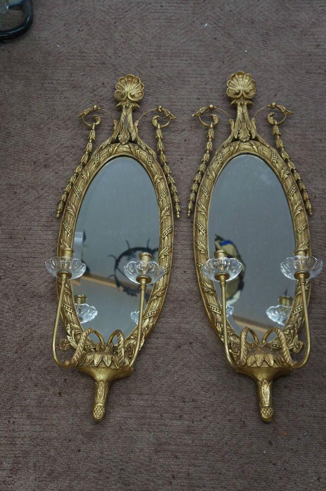 Hollywood Regency Gilt Wood-Carved Gold Mirror with Candelabra (Lot of 2)