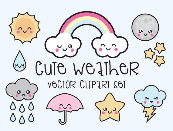 Prime Vector Clipart - Clipart de météo de Kawaii - Kawaii météo Clip art Set - haute qualité vecteurs - Instant Download - Kawaii Clipart