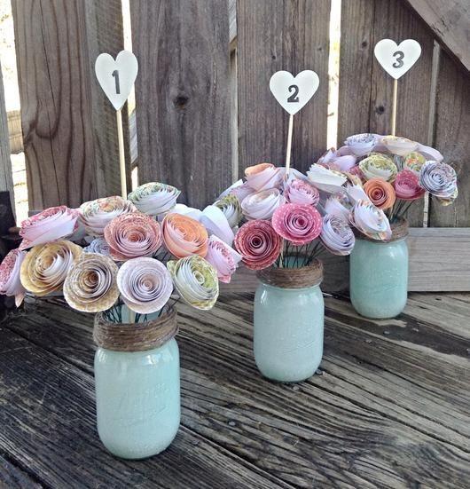Table numbers. Wedding centerpiece. paper roses. rustic wedding. Mason jar. Spring wedding. Summer wedding. Country wedding.