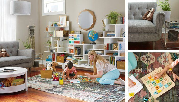 Shop Mid-Century Chesterfield Sofa, Grey Macrame Wall Weaving, Naturally Faceted Mirror, Crystal Clear Nightstand, Modern Maze Tall Bookcase, Rotunda White Glaze Kids Table, Southwestern Rug, Saved by the Cube Bins Locker Baskets, Letters Entertain You Puzzle and more