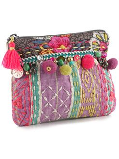 zippered pouch  with embroider, tassels and baubles