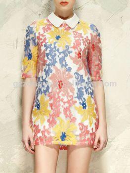 embroidery shift dress