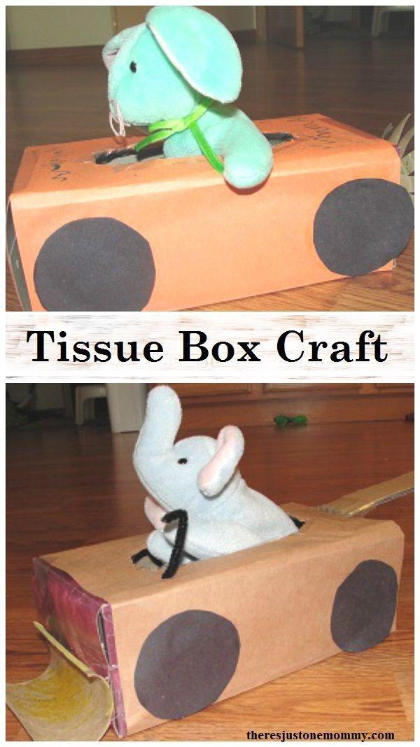Tissue Box Craft:  turn that empty tissue box into a stuffed animal car or truck; fun preschooler vehicle craft