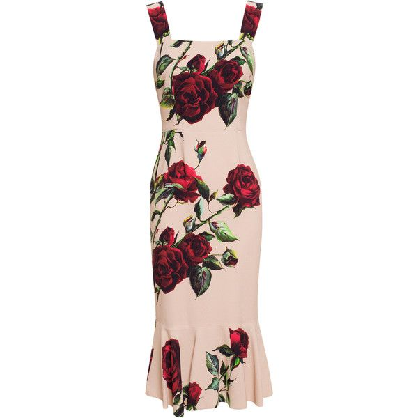 DOLCE & GABBANA Rose Printed Flute Dress found on Polyvore
