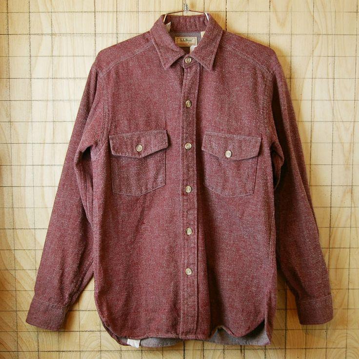 【LLBean】USA製古着霜降り杢レッド(赤)コットン100%シャツ|サイズS