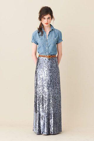 chambray + sparkles.: Sequins Maxi Skirts, Fashion, Style, Sequins Skirts, J Crew, Chambray Shirts, Denim Shirts, Long Skirts, Jcrew