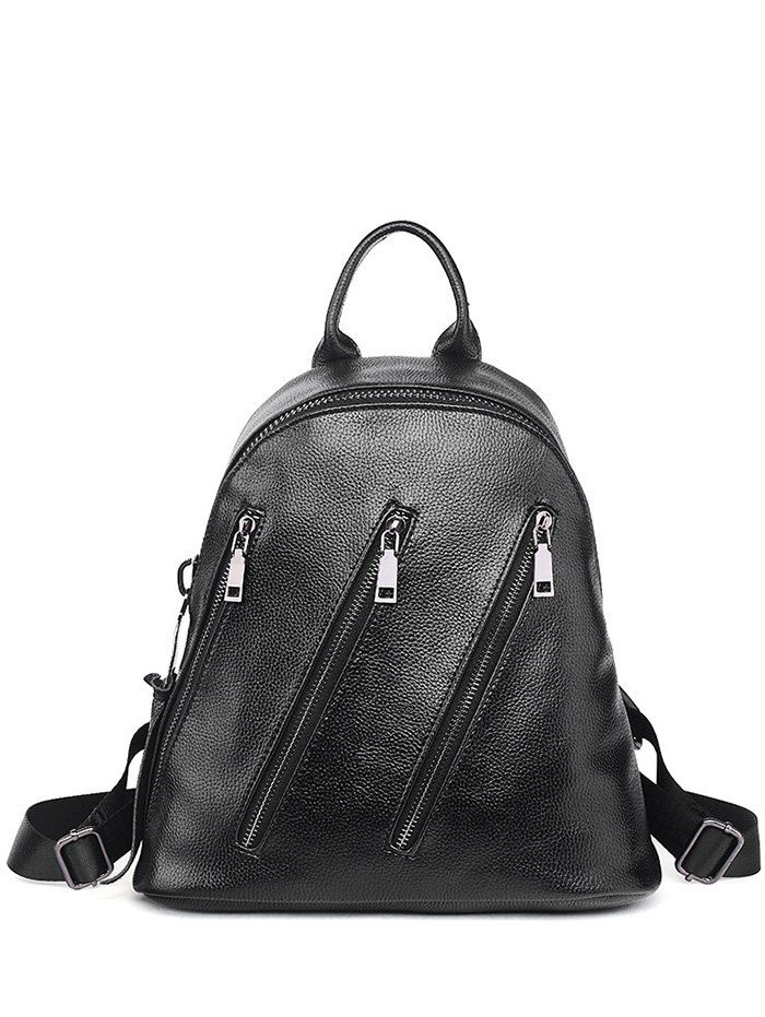 Textured Leather Zippers Metal Backpack #CLICK! #clothing, #shoes, #jewelry, #women, #men, #hats, #watches