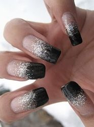 black and silver sparkle tips new years eve nail art
