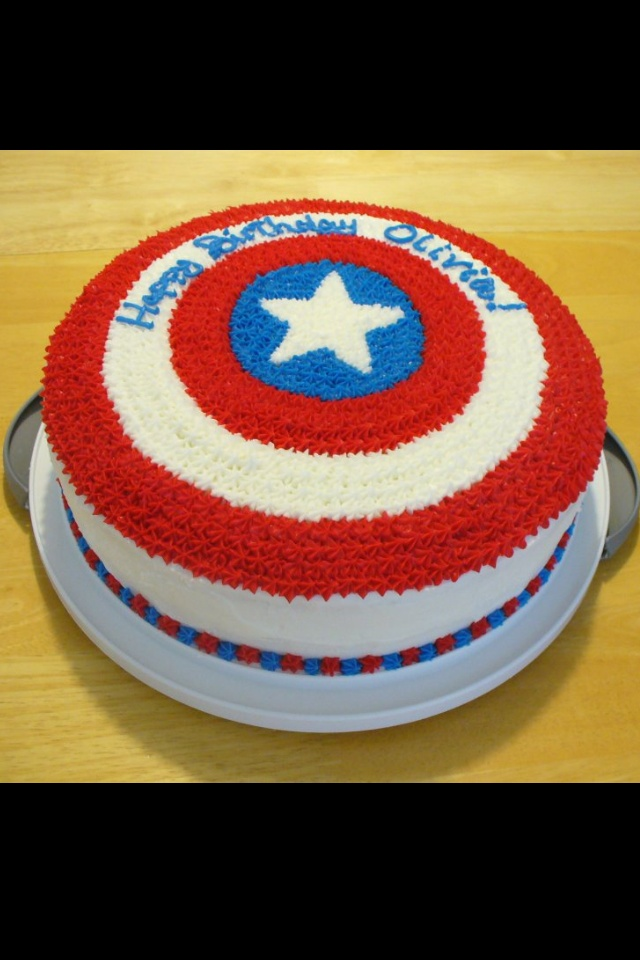 Captain America cake. 12 inch double layer cake with white buttercream and Wilton red and blue tube icing. Printed star template and used different sized round pans to create circles onto white paper. Used piping gel to transfer entire image.