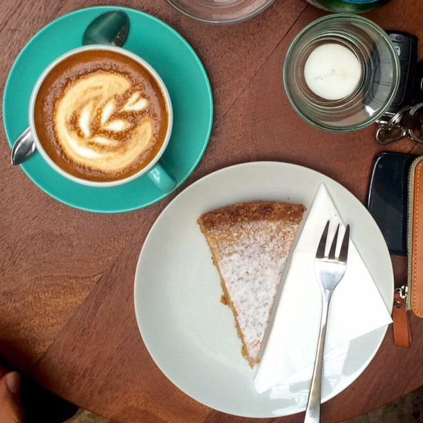 Milk pie with a cup of coffee at Turning Point Coffee ☕️