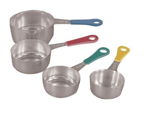 Fox Run Set of Four Stainless Steel Measuring Cups with Colored Handles by Fox Run. $10.55. Stackable for space saving storage. Cups are fastened with connector ring. Stainless Steel. Colored handles. Fox Run set of four measuring cups are made of stainless steel and have colored handles for easy identification.  Set includes:  1/4 cup, 1/3 cup, 1/2 cup and 1 cup measurers.