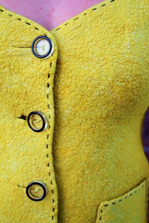 Купить Валяный жакет Yellow Submarine - желтый, ручная авторская работа, одежда из войлока