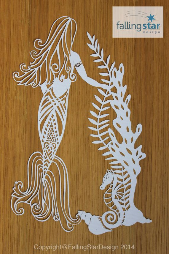 Mermaid & Seahorse Papercutting Template | Paper Cutting ...