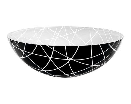 MURANO LINEA skleněné umyvadlo kulaté 40x14 cm, černá/bílá : SAPHO E-shop