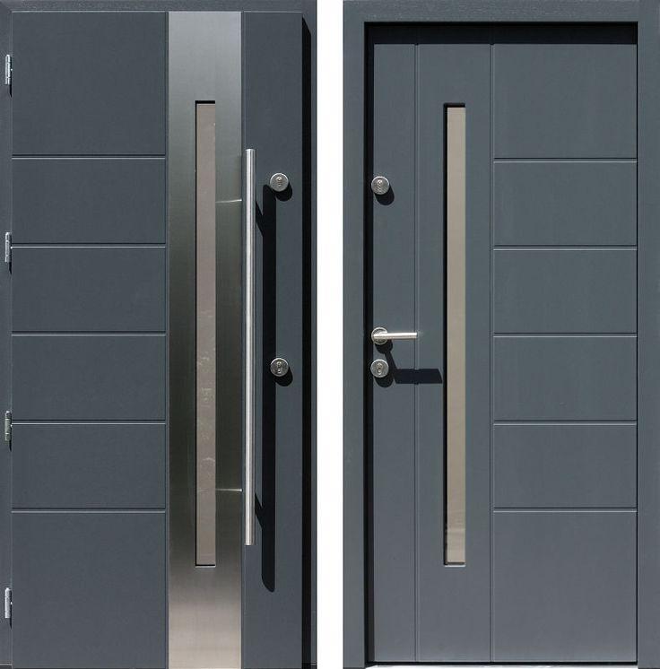 Drzwi wejściowe z aplikacjamii ze stali nierdzewnej inox wzór 475,3-475,13 antracyt