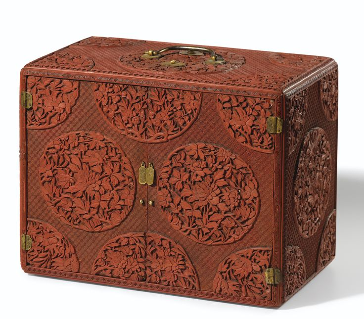 A CARVED CINNABAR-LACQUER PORTABLE CABINET QING DYNASTY, QIANLONG PERIOD