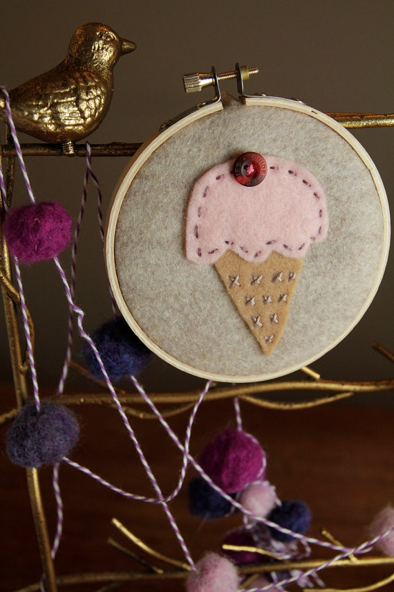 pink scoop embroidery hoop art.