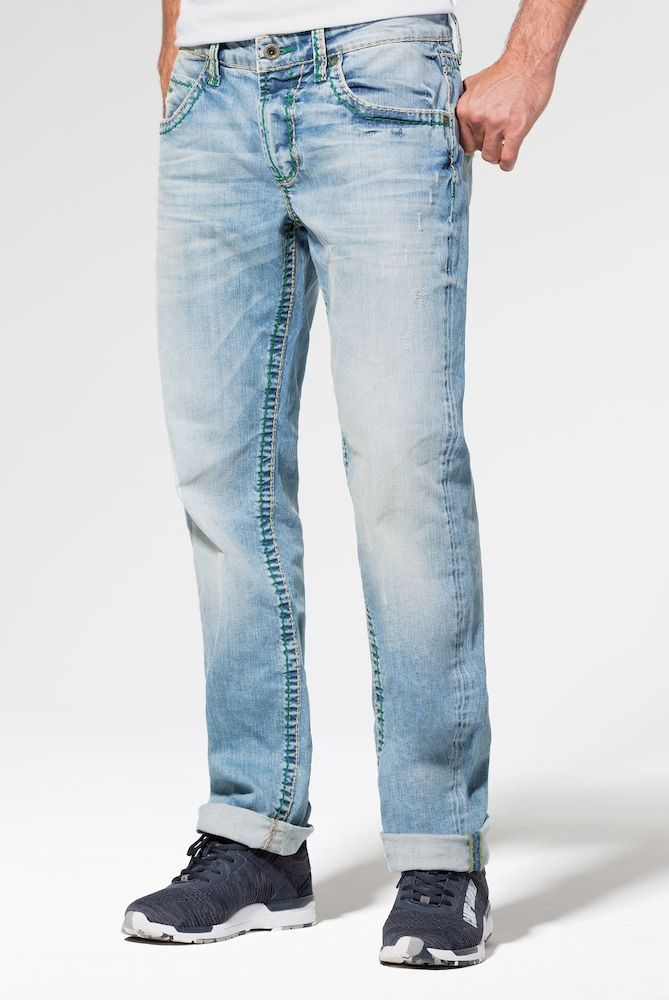 Camp David Vintage Look Jeans With Wide Stitching Men Light Blue Size 38 Camp David Jeans Vintage Looks Jeans