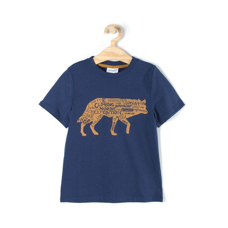 Koszulka, kolor granatowy, krótki rękaw, ściągaczowe wykończenie szyi, dekoracyjna aplikacja z przodu, dziane