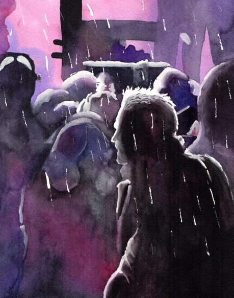 Purple hues and rainy blues. A watercolour by ArtTutor member 'tamtam' | ArtTutor Gallery: Get Inspired By The Artwork of Others