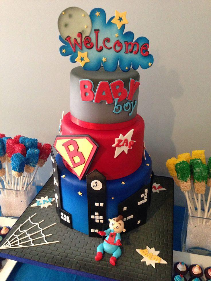 Baby Shower Decorations Superhero ~ Best superhero baby shower cakes images on pinterest