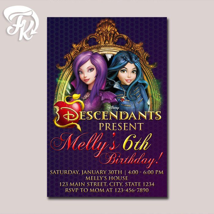 Descendants Invitations Birthday Party Card Digital Invitation 919 USD