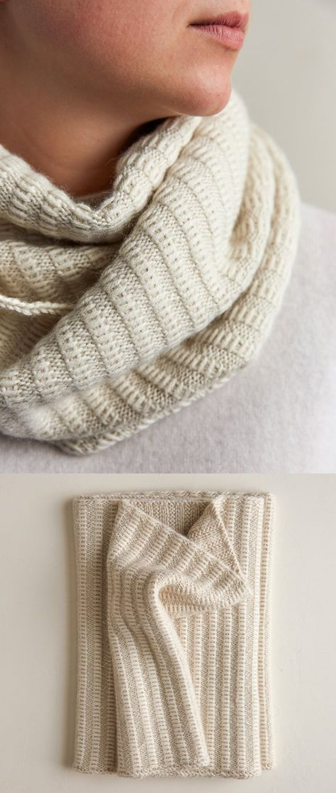Free Knitting Pattern for 2 Row Repeat Floats CowlThe texture of this cowl is created with 2 row 4 stitch repeat with slipped stitches on ribbing. Designed by Purl Soho