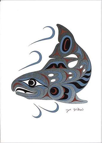 Joe Wilson Salish Art Card Design Spawning Salmon | eBay